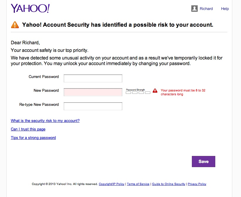 Yahoo Account Password Change